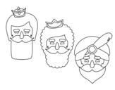 Dibuix de 3 reis mags per pintar