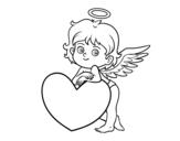 Dibuix de Cupido i un cor per pintar