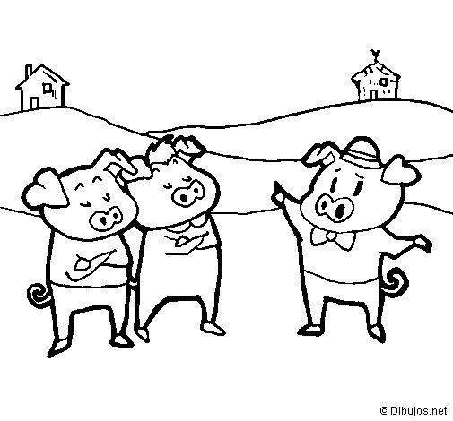 Dibuix de Els tres porquets 5 per Pintar on-line