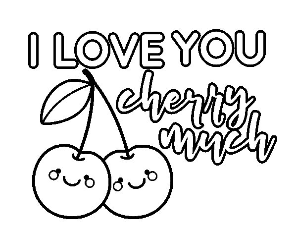 Dibuix de I love you cherry much per Pintar on-line