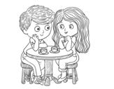 Dibuix de Nens prenent cafè per pintar