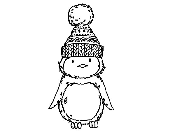 Dibuix de Pingüí amb gorra d'hivern per Pintar on-line
