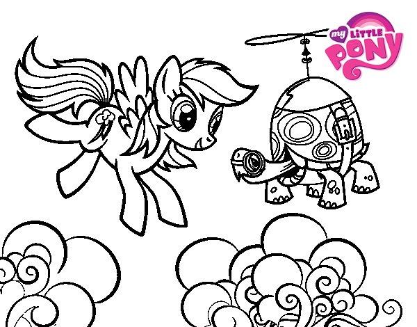 Dibuix de Rainbow Dash i la tortuga tanc per Pintar on-line