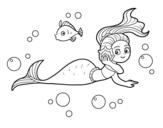Dibuix de Sirena màgica per pintar
