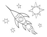 Dibuix de Un cohet aeroespacial per pintar