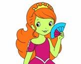 Dibuix Princesa i ventall pintat per gatetes